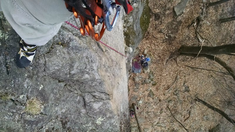 "Rock Climbing Photo: Looking down, from the anchors of ""Hinterland..."
