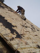 Rock Climbing Photo: FA-er Larry DeAngelo starts off on P1 on a 2017 as...