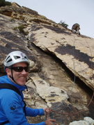 Rock Climbing Photo: (START of Route) Mike belays P1 as Larry leads