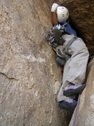 Rock Climbing Photo: Take the helmet off and squeeze on up!