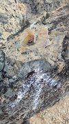 "Rock Climbing Photo: The bolt atop Ram Head as of 04-18-2017. 1/2""..."