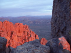 Rock Climbing Photo: Summit at Sunset.... Only half way done.... Now ne...