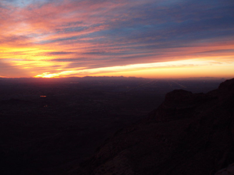 Looking towards Phoenix from the summit at sunset
