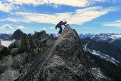Rock Climbing Photo: Exposed traverse on the South Arete of South Early...