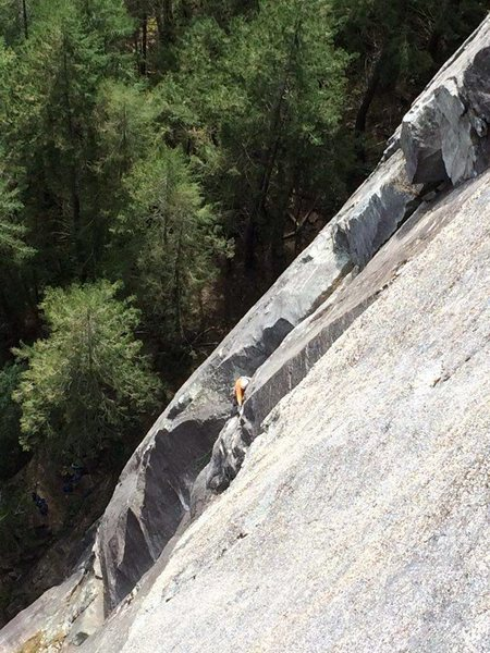 Rock Climbing Photo: Ben pulling onto the 3rd pitch from the top of P2 ...
