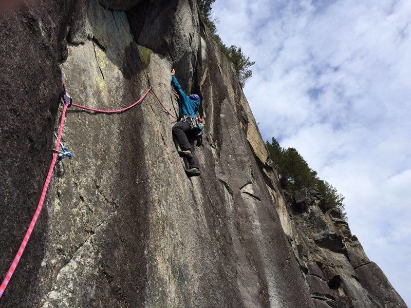 11 something traverse that leads to the Town Crier belay