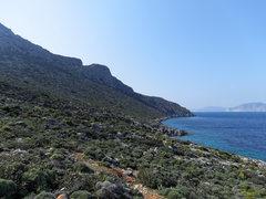 Rock Climbing Photo: The descent trail along the north coast of Telendo...