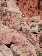 Rock Climbing Photo: Climber in blue on B B Wolf, climber in white at 1...