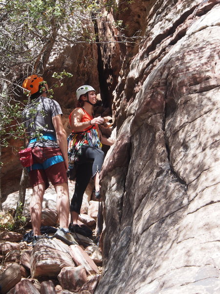 "Rock Climbing Photo: Molly starts off on P1; the ""cave-ish"" s..."