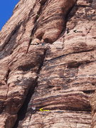 Rock Climbing Photo: Lower climber nears crux of P2, upper climber star...