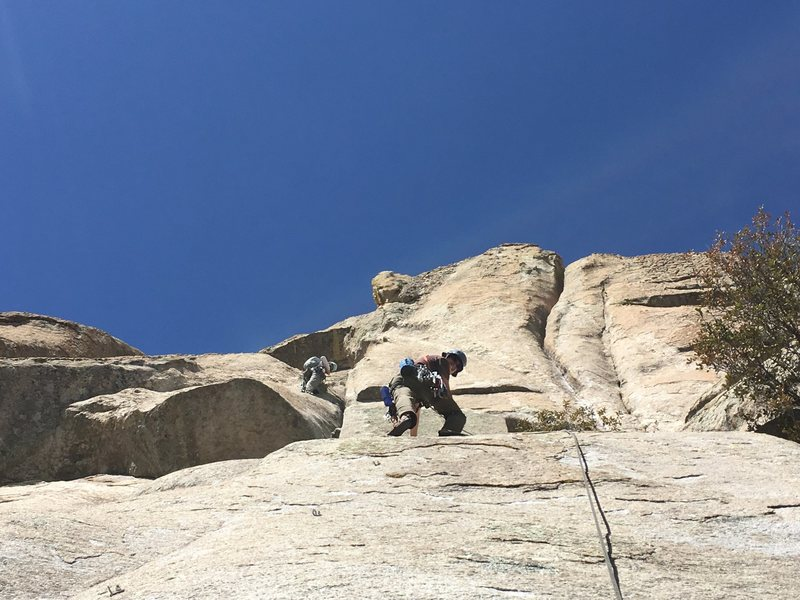 climbers following Better Life and the old mystery route center