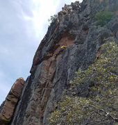 Rock Climbing Photo: Matt Johnson high on the traverse to the belay led...