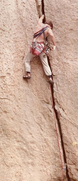 Leslie Newman just after the roof at the start of Bushwhack Crack. Circa 1984.