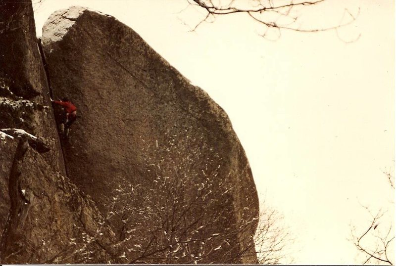 Leslie Newman falling on Oh My God after reaching the top and grabbing a handful of snow! Circa 1984. Made it on second attempt.