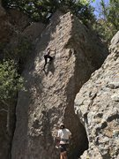 Rock Climbing Photo: A friend top roping Miss Pacman on April 15th, 201...
