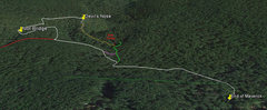 Rock Climbing Photo: Trail Map, Key: White - main approach, Green - jee...