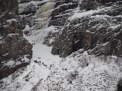 Rock Climbing Photo: Black Dike Rescue 2/4/17  Up to 24 climbers and re...