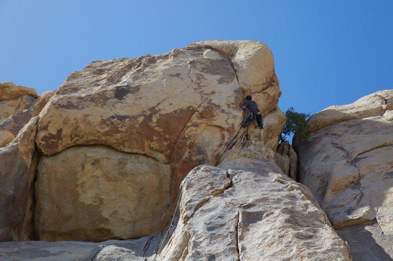 "Rock Climbing Photo: Douglas Goodrich leading ""Overseer"""