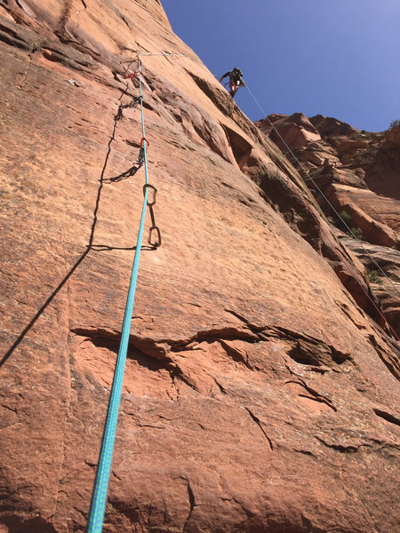 Rock Climbing Photo: Douglas Goodrich aiding the pitch 1 reachy bolt la...