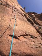 Rock Climbing Photo: Douglas Goodrich aiding the pitch 1 reachy bolt la...
