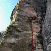 A 13A goes up the Arete and an 11A-B for up the face. The 13A easily has the cleanest and best rock in the area. It is mostly bolted but they say to bring gear to 1 inch as well. The 11b is mixed as well.