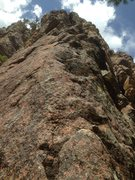 Rock Climbing Photo: The start of the route.  Up the short slab and dir...