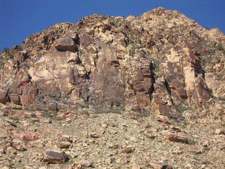Rock Climbing Photo: Windy Peak East Face Left Side Yellow: Free Crack ...