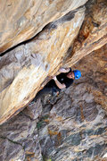 Rock Climbing Photo: Starting crux sequence. Not quite this steep but i...
