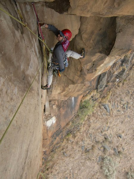 Rock Climbing Photo: Steep exposure on the final roof crack.