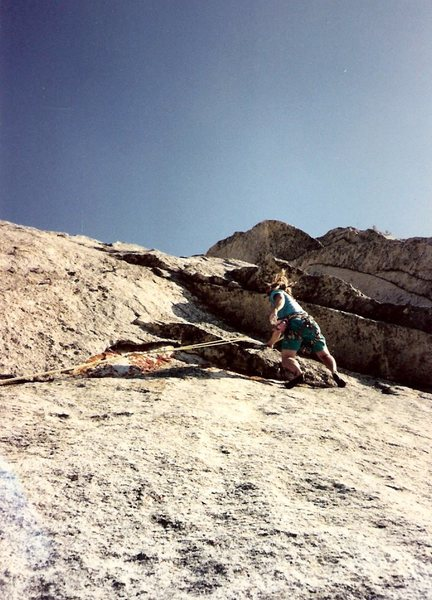 Somewhere towards the top, Spring 1991. 2nd ascent, I think.