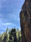 Elicia Hunt on the upper dihedral of Mayflower.