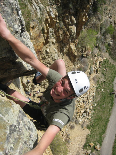 Rock Climbing Photo: Pulling over the block at the top of the route. Lo...