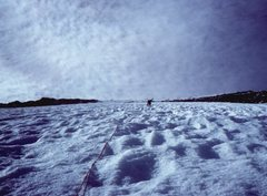 Rock Climbing Photo: Tom Davis leading the endless North Face, approach...
