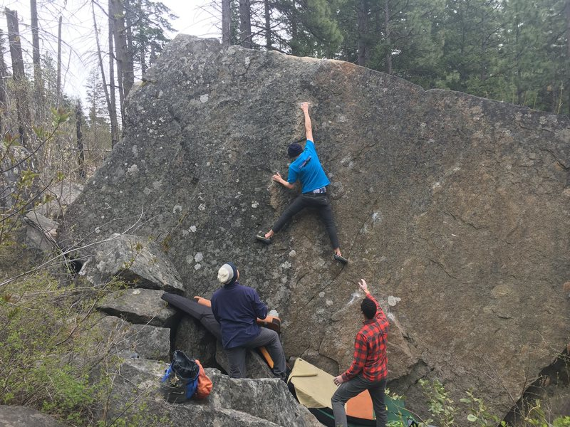 Rock Climbing Photo: My boyfriend sending Giant Man. The really good le...