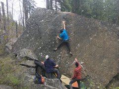 Rock Climbing Photo: My boyfriend sending Giant Man. The really good le...
