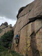 Rock Climbing Photo: Jon floats up the flake at the start