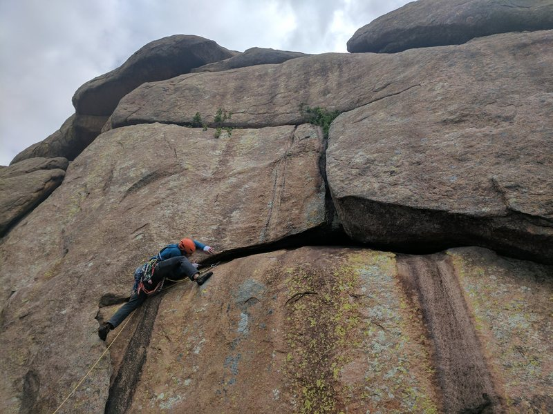Rock Climbing Photo: Jon gets real bendy to try to place pro before he ...