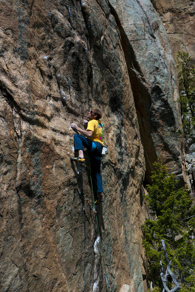 B. S. on the last move of the crux.