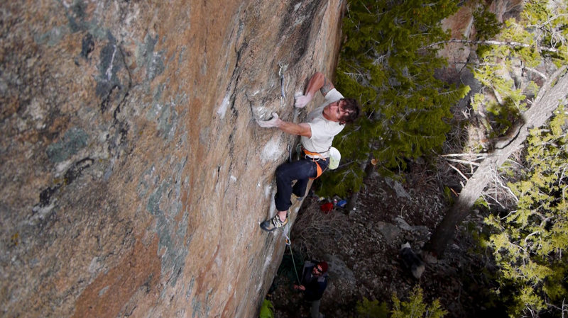 Hofer sticking the undercling at the end of the crux.