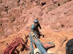 Sean jugging up to the top of P3.