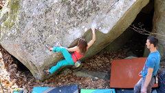 Rock Climbing Photo: Nadya crimping hard on the opening moves