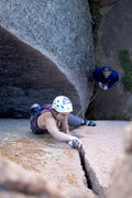 Rock Climbing Photo: Maria pulling some moves on the #1 half of Top Cho...