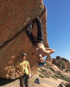Rock Climbing Photo: Kurt heel-toe camping the heck out of this route