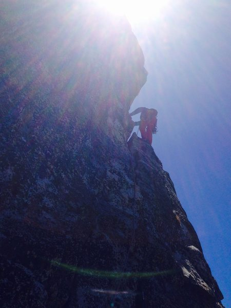 Julian way out there on the Step Around Tower pitch of the Altar Buttress!