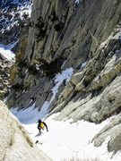 Rock Climbing Photo: In the upper easy snow gully. 2 pitches of rock/mi...
