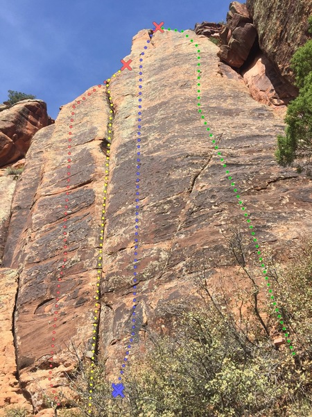 Reck Rocks Simulator Wall.<br> <br> Air Time - orange,<br> Rope Master&@POUND@39@SEMICOLON@s Crack - yellow.<br> High Time - blue.<br> Arm and Hammer - green.