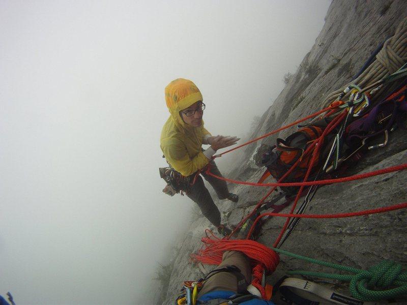 Rock Climbing Photo: In the clouds on el Sendero Luminoso
