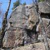 Climber on Zah Dude, Chatiemac Cliff.