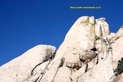 Rock Climbing Photo: More Hustle Than Muscle (5.8), Joshua Tree NP