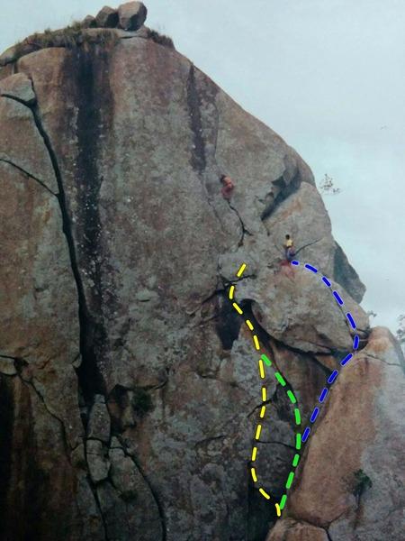 Climbers Praveen B and Girish, on P3, Khoday Neer, in the 90&#39;s.<br> <br> P2 a): Blue<br> P2 b): Green<br> P2 c): Yellow